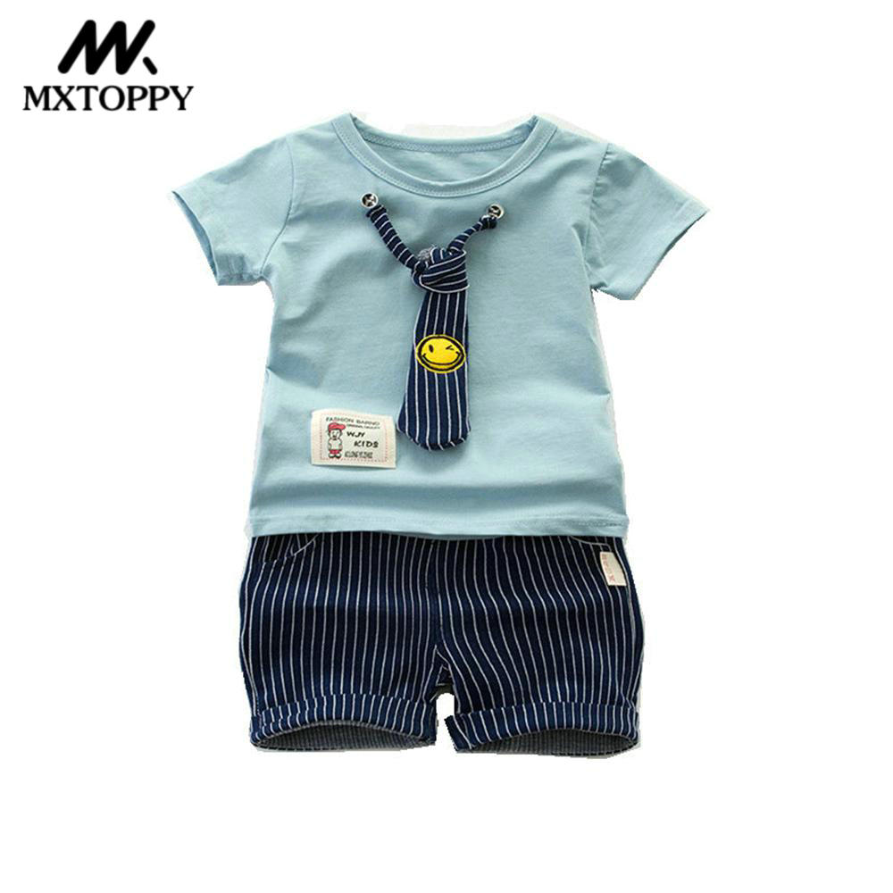 MXTOPPY Baby Boy Clothes New Summer Cotton Tie Baby Boy Sets 2pcs T-shirt + Shorts Children Clothing For 0-4Y