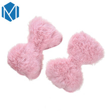 M MISM 1 Pair Lovely Children Hairpins Bowknot Shape Soft Hairy Hair Clip Jewelry Women Girls Headdress Accessories