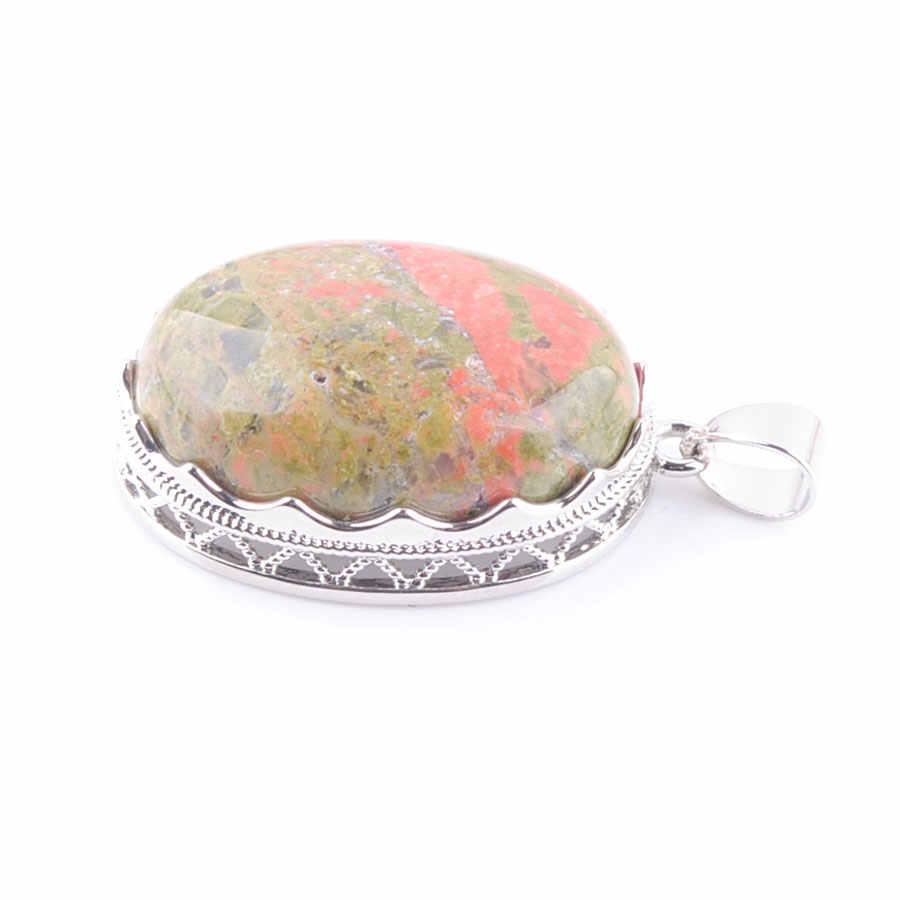 ブルーハウライトアベンチュリン瑪瑙宝石の石オーバルビーズシルバーネックレス & ペンダントジュエリーチェーン 18 インチ WOJIAER PBN329A