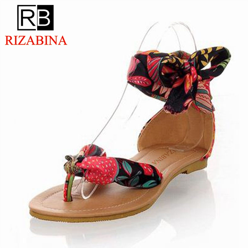 bfd6a8a81a6 RizaBina size 34-43 T strap colorful Beach flat heel sandals women Summer  Sandals Ribbon Sweet Ladies Leisure shoes P23534