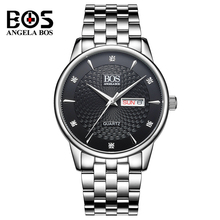 ANGELA BOS Men Watch Mens Waterproof Fashion Business Dress Wave Dial Wrist Watch Calendar Clock Japanese Movement Montre Homme(China)