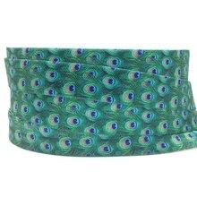 5Y 16 мм павлин печатных складывающийся над эластичным врагом повязка из спандекса дети лента для волос платье с повязкой кружевной отделкой Швейное Ремесло «сделай сам»