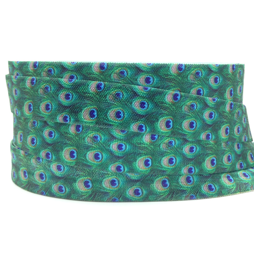 5Y 16mm Peacock Printed Fold Over Elastic FOE Spandex Band Kids Hairband Headband Dress Lace Trim DIY Sewing Crafts