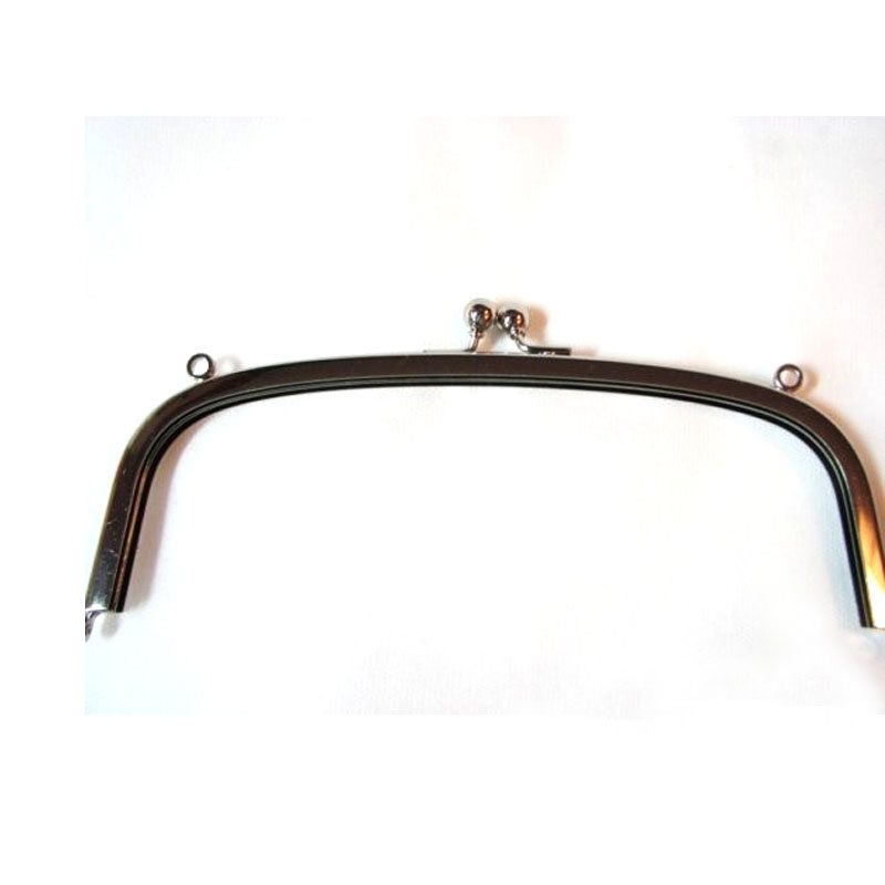 Metal Purse Frame 10 Inch Wide <font><b>x</b></font> <font><b>3</b></font> <font><b>3</b></font>/<font><b>4</b></font> H Double Loops Curved