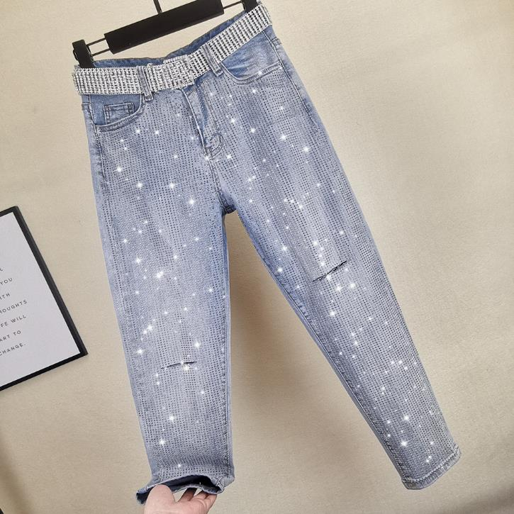 spring summer new fashion diamond   jeans   women loose hole high waist loose straight   jeans   plus size