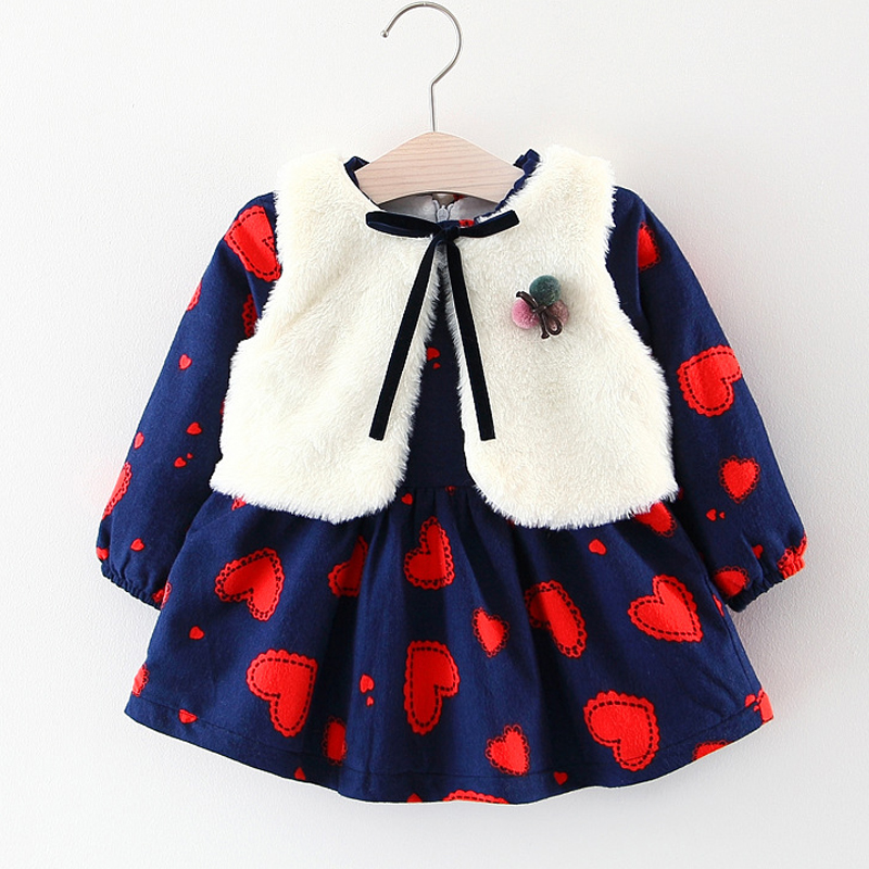 Baby Girls Dress Autumn and Winter Girls Thicken Plus Velvet Long Sleeve Down Dress+White Fur Vest 2Pcs Suit Kids Clothes Dress цены онлайн