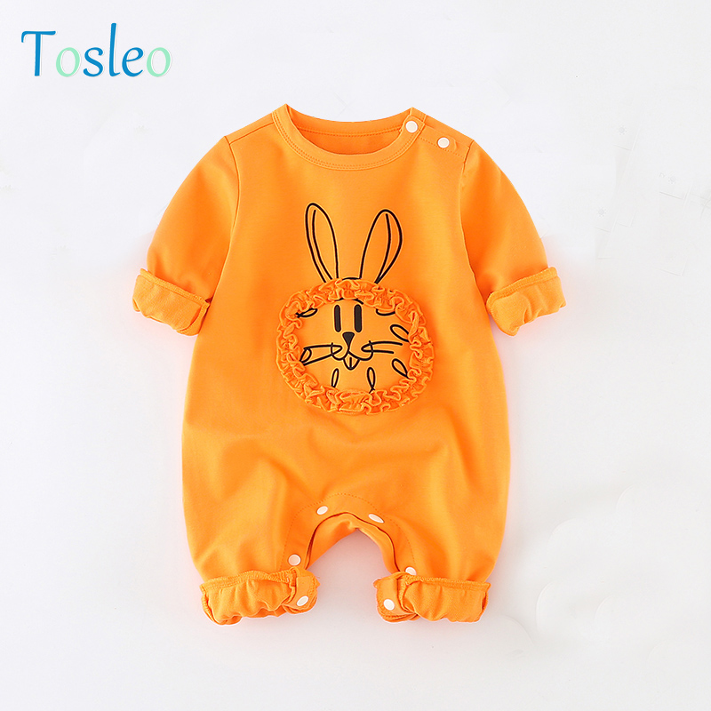 2018 Baby Rompers Spring Jumpsuit Children Baby Girl Clothes Animals Pullover Full Sleeve Cotton New Born Baby Clothes Yellow