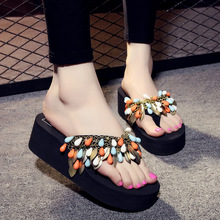 Women Casual Summer Flat Beach Slippers Female Crystal Slides Slipper beaded Shoes For Girls Fashion Woman Leisure Footwear summer solid soft leather fish head female slippers flat soft bottom comfort leisure women slipper lazy people slides sjl148