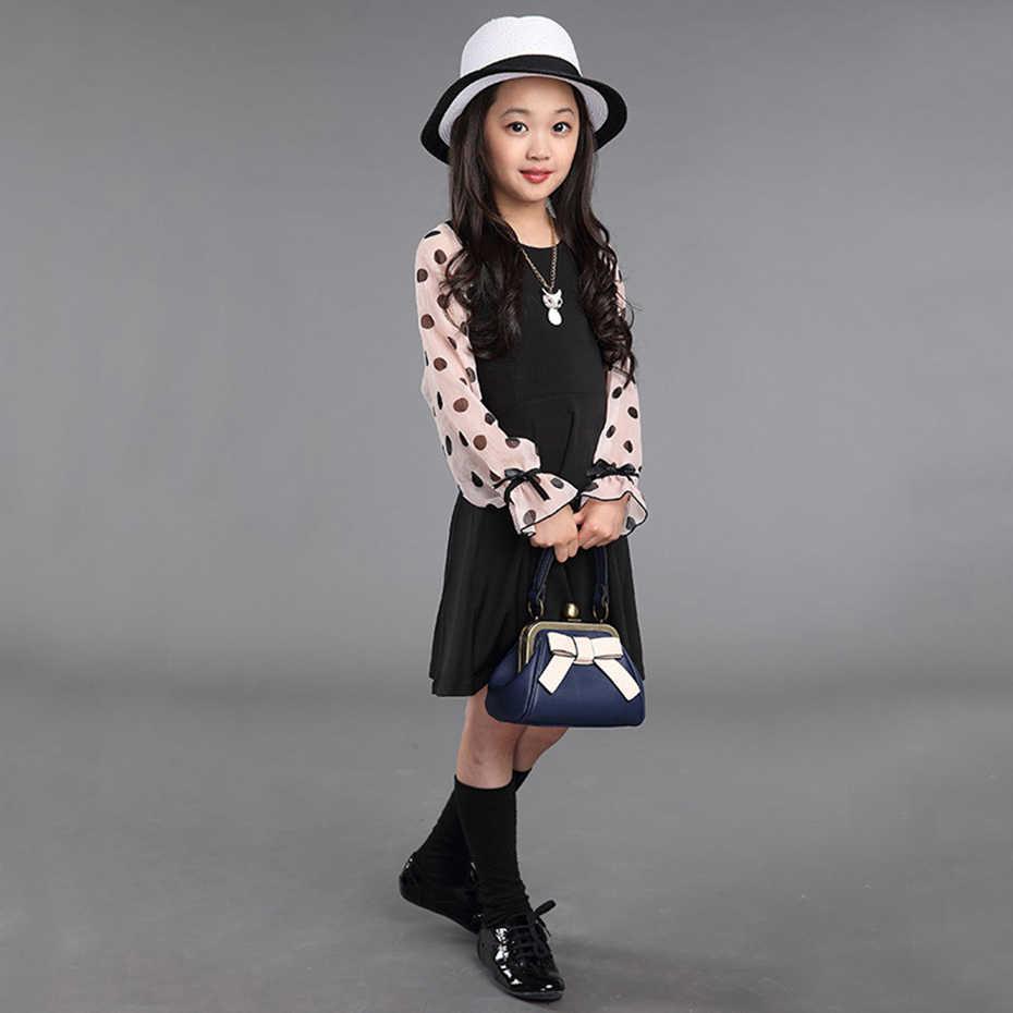 Patchwork kız elbise Polka Dot elbise çocuklar için yaz elbisesi kızlar için rahat çocuk elbise bahar kostüm kız için 4-14 yıl
