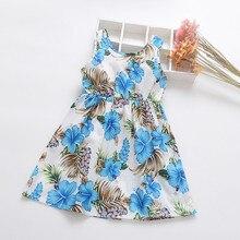 Платье для маленьких девочек; платья для новорожденных с цветочным принтом; одежда для маленьких девочек; платье с ленточками с цветочным принтом; повседневные платья принцессы