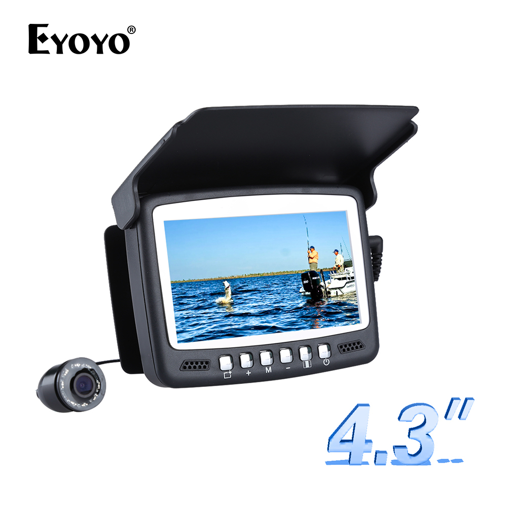 "Eyoyo Original 15M Ikan Finder Underwater Fishing Camera Fishfinder 4.3 ""LCD Monitor 1000TVL CAM 8pcs Sunvisor LED Infrared"
