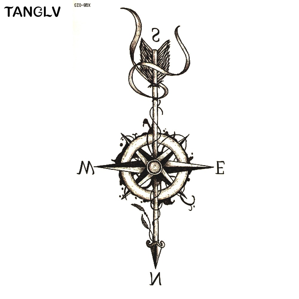 Kupuj online tanie temporary waterproof compass tattoo for Tattoo bussola significato