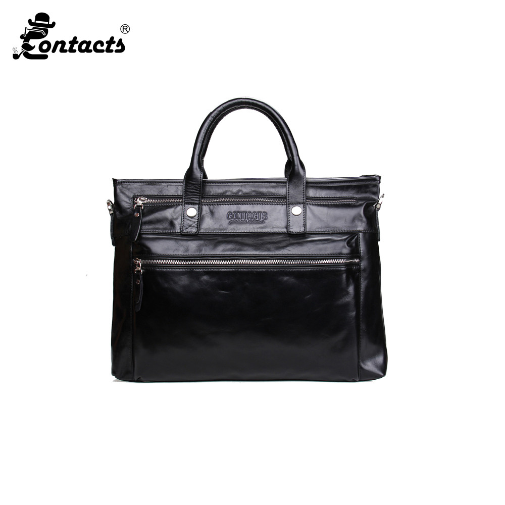 CONTACT'S MB020 2017 Business Men Briefcase Shoulder Bag Fashion Designed Men's bags Casual Briefcase Travel Bags Maleta Black 020 black