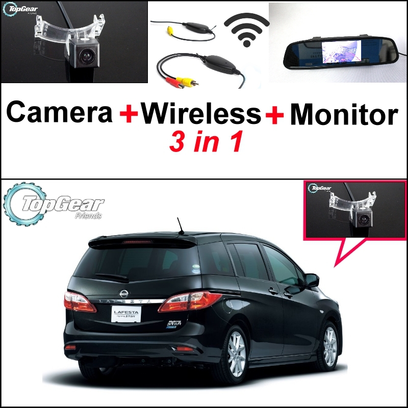 Special Rear View Camera + Wireless Receiver + Mirror Monitor 3 in1 Parking System For Nissan Lafesta Highway Star B35 2011~2015 wireless pager system 433 92mhz wireless restaurant table buzzer with monitor and watch receiver 3 display 42 call button