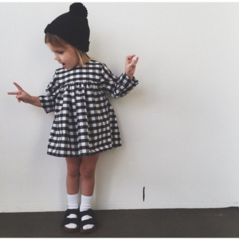 Cute Baby Kid Girls Casual Plaid Dress Long Sleeve Princess Children Clothes DS29