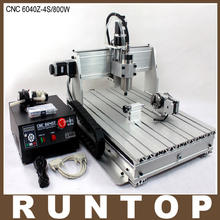 800 W Cuatro ejes CNC Router Grabado del Grabador de Fresado de Perforación Máquina de Corte CNC 6040