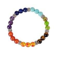 7 Чакра браслет натуральный камень для женщин мужчин Исцеление баланс браслеты для йоги унисекс пары ювелирные изделия