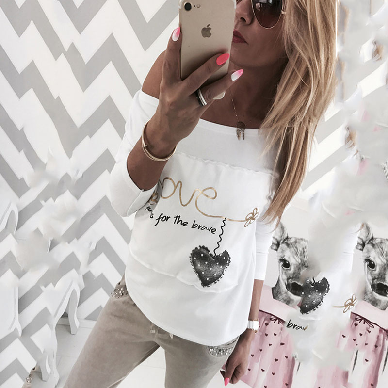 Spring Autumn Women Long Sleeve Casual Heart Printed Basic Female T Shirt For Women Fashion