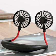 Portable Sports Fan USB Rechargeable Charging Handheld Neckband Fan Mini Double Fans 3 Speed Adjustable Wearable for Home Office цена и фото