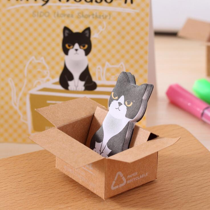 50pcs/Lot Korean Stationery Cute Cat Memo Pad Sticky Note Paper Scrapbooking Writing Office School Stationery Supplies