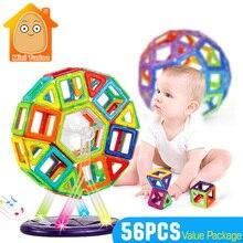 MiniTudou Обучающие Пластиковые Магнитные Блоки Модель Развития Кирпичного 56 ШТ. Building Block Дети Игры Строительного Кирпича