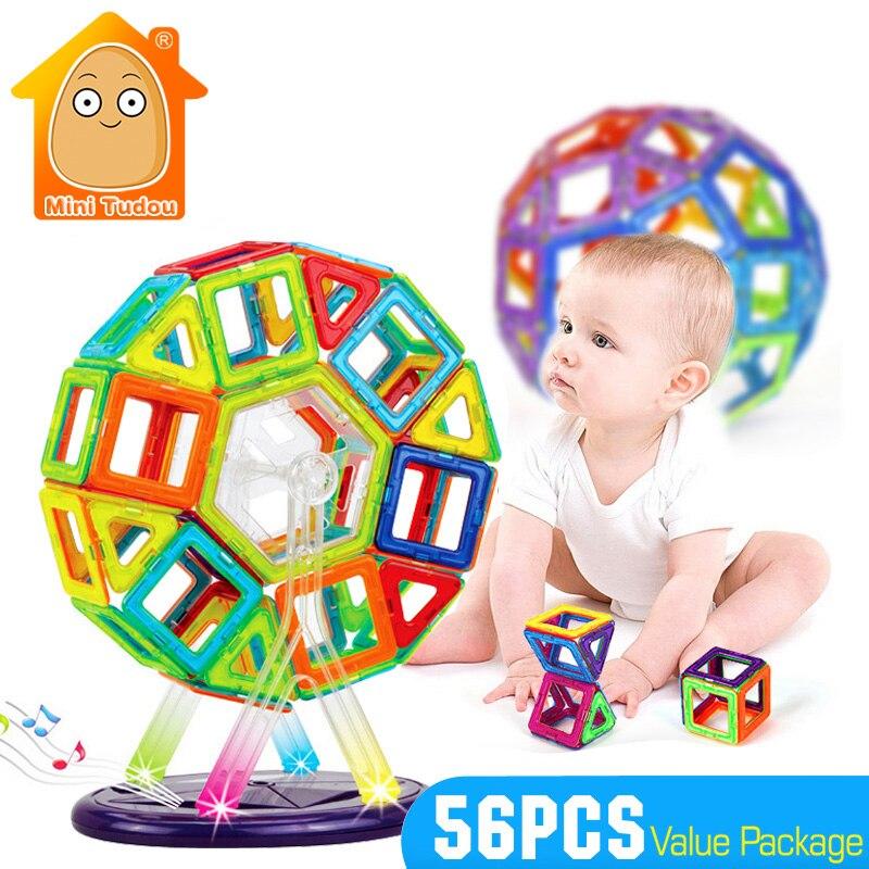 Minitudou Educational 56PCS Plastic Magnetic Blocks Model Brick Development Building Model Children Game Construction