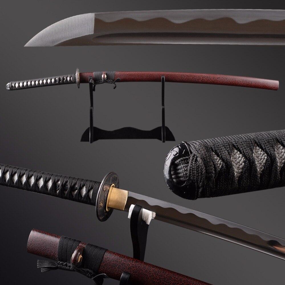 Artisanat japonais en métal plein Tang KATANA épée en acier à haute teneur en carbone samouraï épée unique bo-hi Dragon Menuki