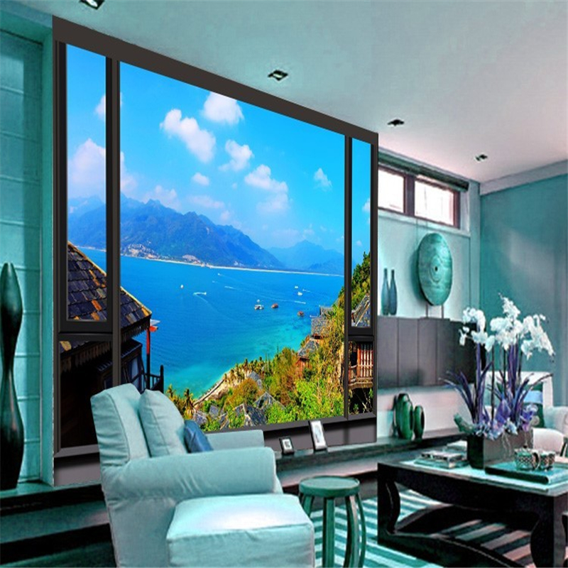 beibehang papel de parede 3d wallpaper three-dimensional look endless sea view murals lead bedroom living room murals wallpaper