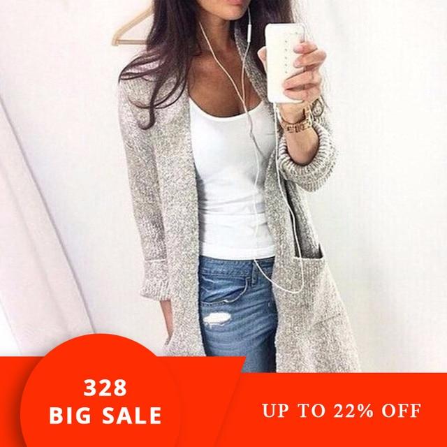 3ec97229a79 2019 Otoño Invierno moda mujer manga larga suelta punto cardigan suéter  mujer punto Mujer cárdigan