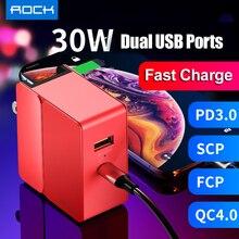 Pd 고속 충전 usb 충전기 rock 30 w u + c pd 3.0 scp & fcp qc4.0 & qc3.0 여행용 어댑터 iphone xs xr 용 빠른 충전 huawei p30