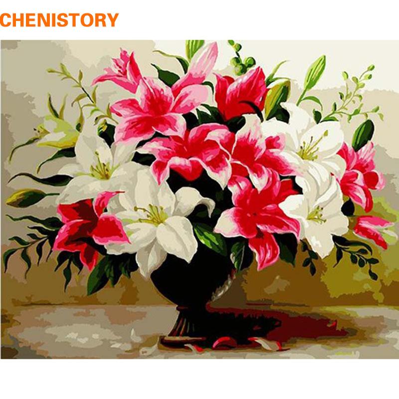 chenistory red lily flor foto arte de la pared pintura al leo diy pintura by nmeros