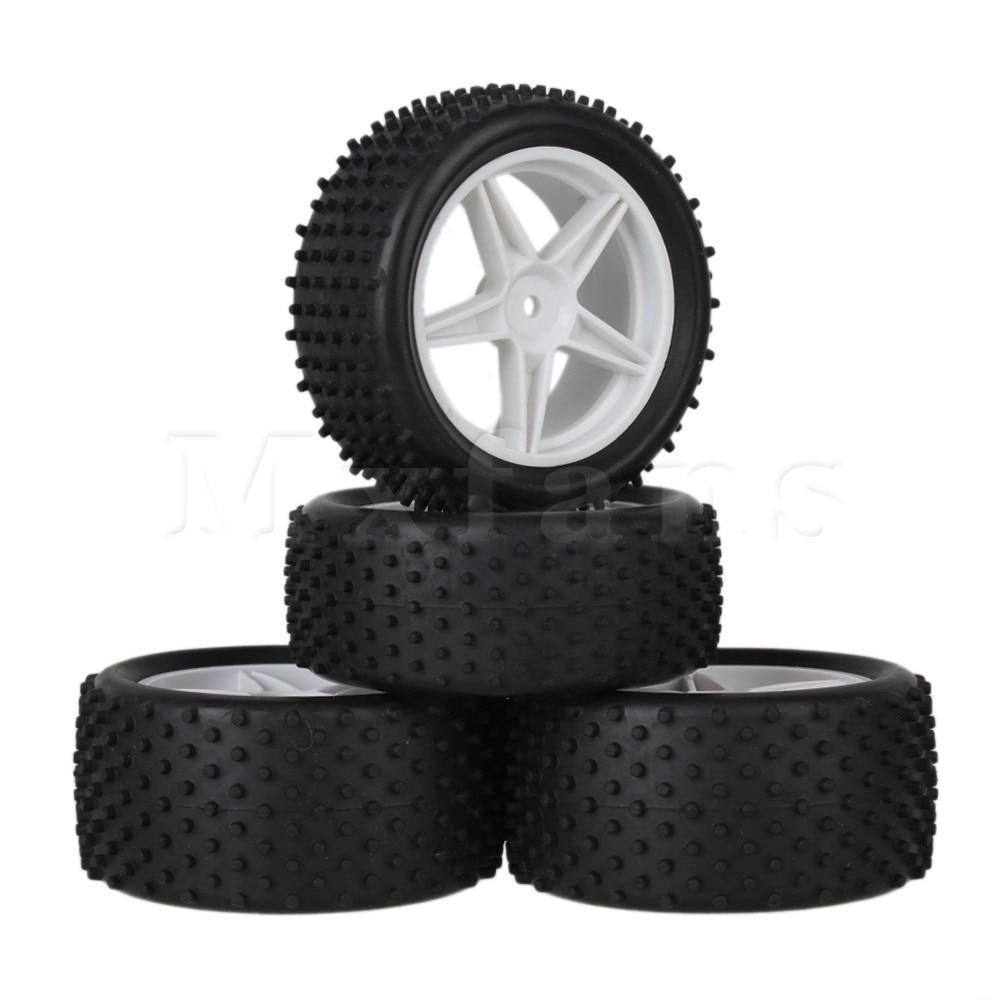 Mxfans 4 x RC1:10 Off-road Cylinder Pattern Rubber Tyre & Pentagram Wheel Rims