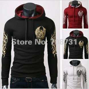 Wholesale/Retail Fashion Sexy Men's Leisure Jacket Fleeces Hoody Hooded Top Coat High Quality Sweat Shirt Black&Gray&Red