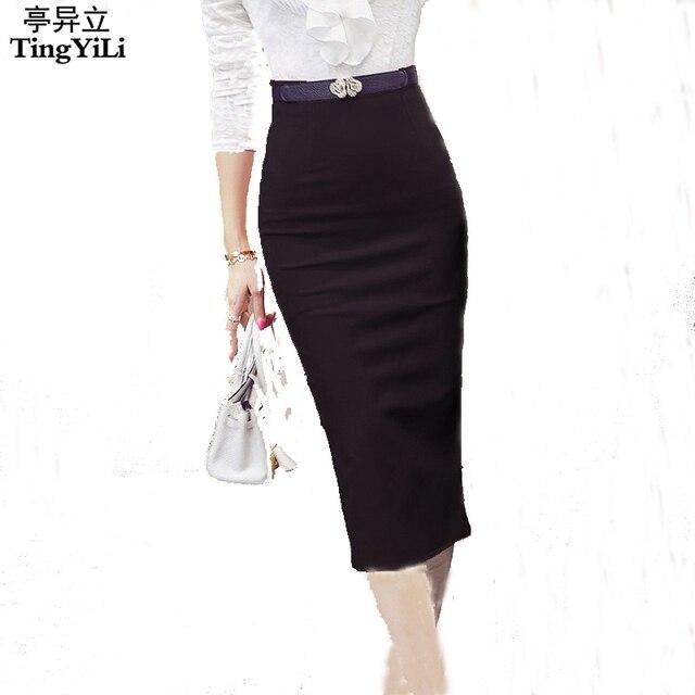 6cbaf43399b43f € 12.58 5% de réduction|TingYiLi taille haute noir rouge longue jupe crayon  bureau dames Maxi jupe formelle élégante femmes longues jupes fente ...