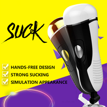 Electric Aircraft Cup Man Telescopic Pull-in Masturbator Adult Supplies Holder Hand-free Sucking Thrusting Automatic Double