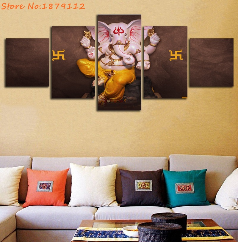Wall Art Pictures 5 Panels Poster God Ganesha Stone Statue Painting Modern Artwork Home Decor For Living Room Canvas Print