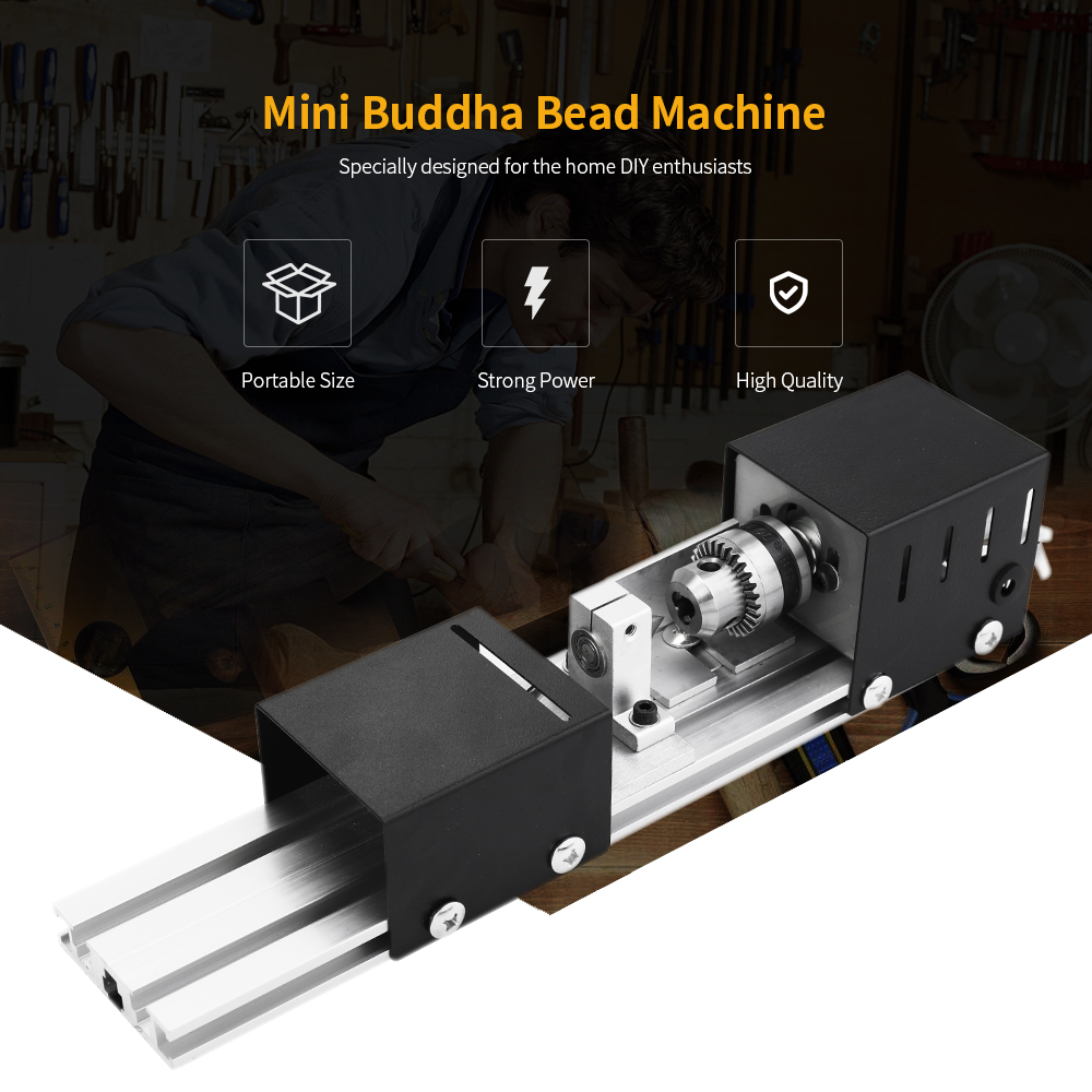 100W Mini Beads Machine Miniature Lathe DIY Woodworking Buddha Pearl Lathe Grinding and Polishing Beads Drill Rotary Tool home buddha machine wm210v small ball machine mini machine tool teaching lathe woodworking wm180v 0618