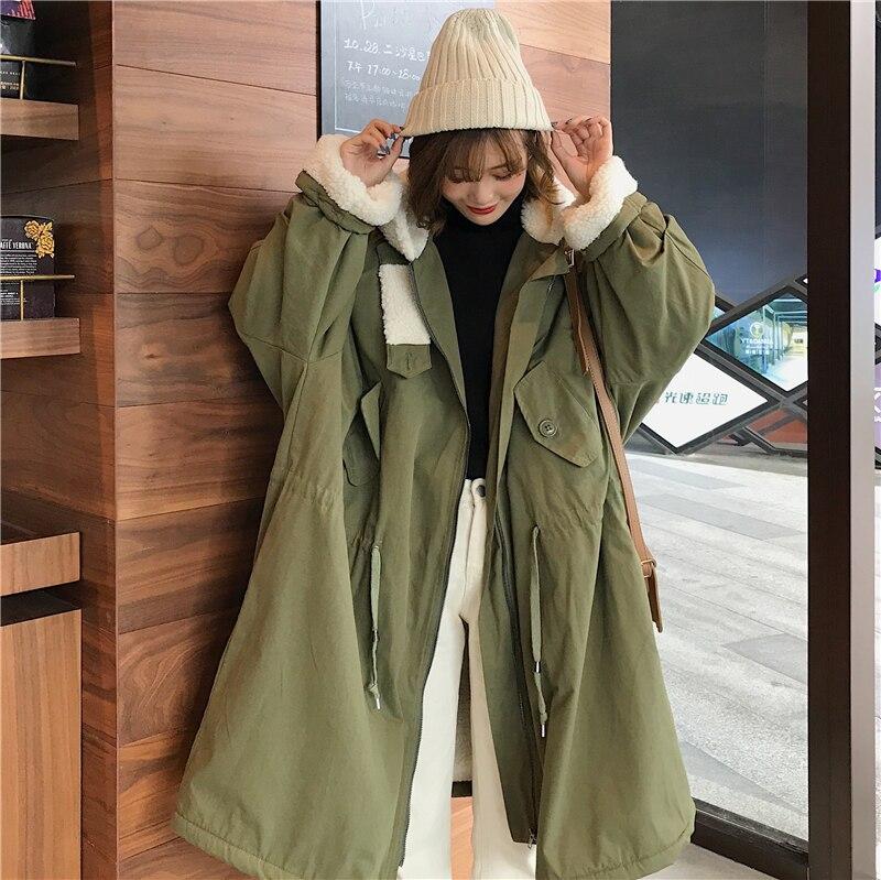 Harajuku Mujer Vêtements Automne Manteau La Hooede Plus Coréen Green Gris Veste Femmes Femelle 2018 Parka Épaissir Rembourré Taille Vogue Chaud kaki army Hiver zw0dzqE