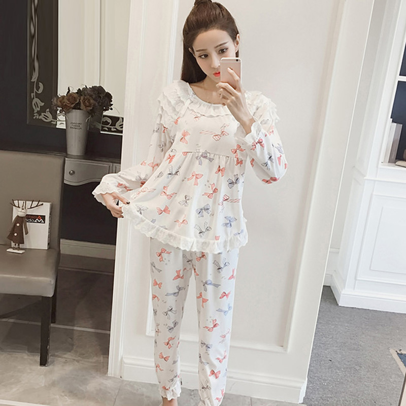 Yidanna 2018 female   pajamas     set   long sleeved sleep clothing women sleepwear pyjamas nightwear lady lace suit stitch autumn+pants