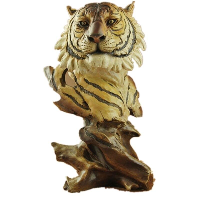 Cabeza De Tigre De La Resina De Madera Artesanía Esculturas De Animales Estatuilla Club Habitación Decoración Regalos R48