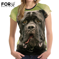 FORUDESIGNS Crazy 3D Animal American Bully Pitbull Dog Print Women T Shirts Harajuku O Neck Tshirts