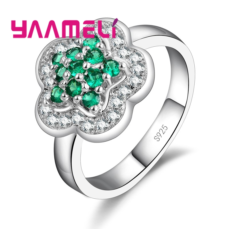 925 Sterling Silver Ring Flower Cute Romantic Style Starry Little Sparkling Embellishment Crystal Colorful For Women
