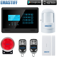 hot sale!! iOS /Android Apps Supported wireless and wired Touch Keypad Home Security GSM Alarm System Free shipping