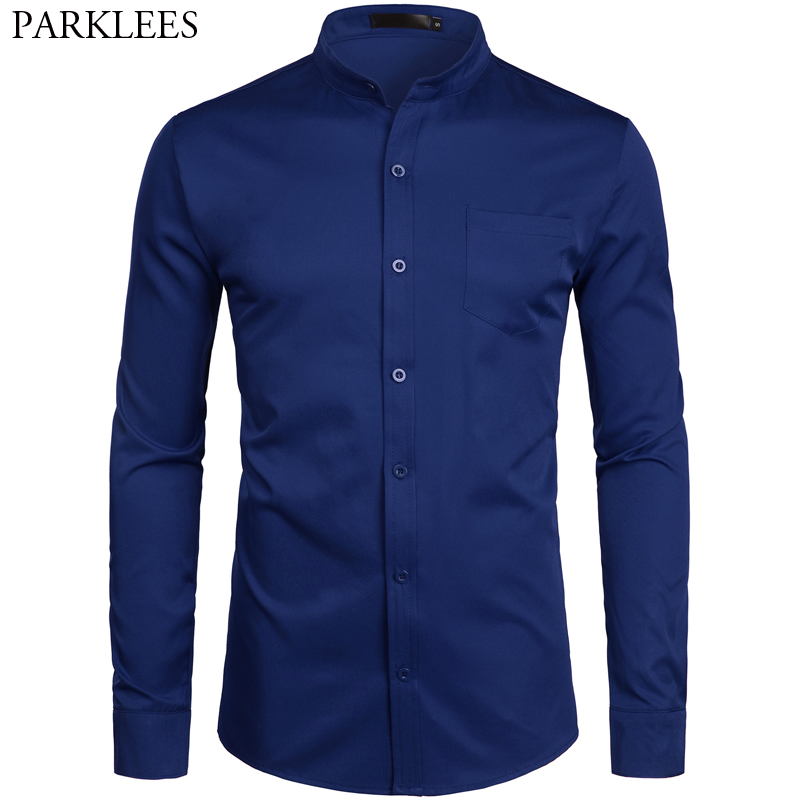 Men's Hipster Banded Collar Slim Fit Long Sleeve Casual Button Down Shirt With Pocket Business Work Shirt Male Chemise Homme 2XL
