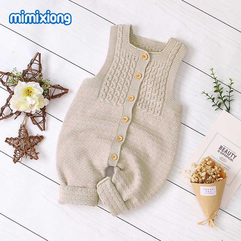 Bebê macacão de malha roupas outono sem mangas recém-nascido menina macacões outfits sólidos crianças macacão macio da criança menino playsuits