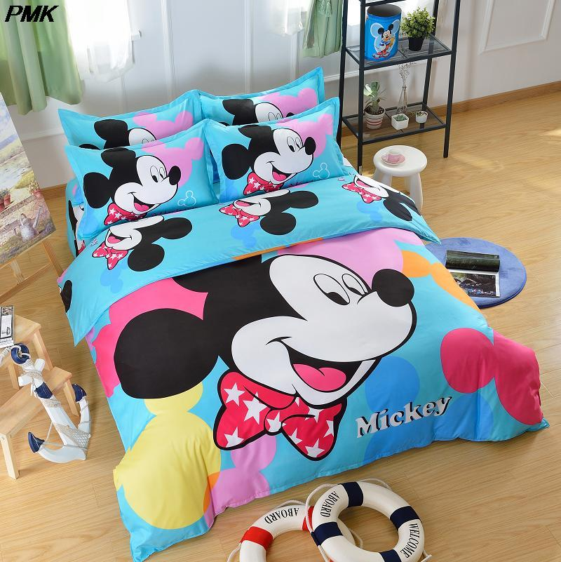 4pcs cartoon mickey bed duvet covet set kids mouse bedding