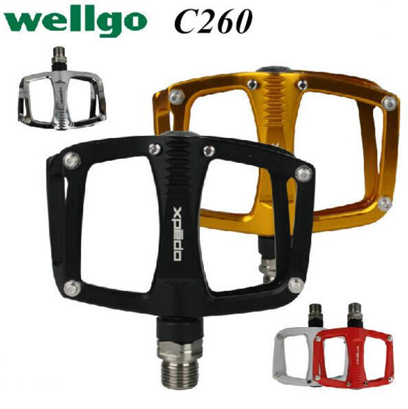 Wellgo New Xpedo C260 Bearing Pocket Bike Sealed Titanium Extruded Flat 193g Road Bicycle Cycling Pedals 9/16