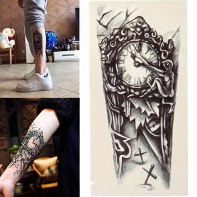 Black Clock Tatoos For Men Temporary Large Mechanical Arm Tattoo Sticker Women 3D Sexy Fake Transfer Tattoo Chest