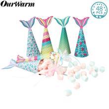 OurWarm – boîte cadeau en papier pour fête sirène, sac à suspendre, fournitures pour fête prénatale, mariage, anniversaire, bonbons, 48 pièces
