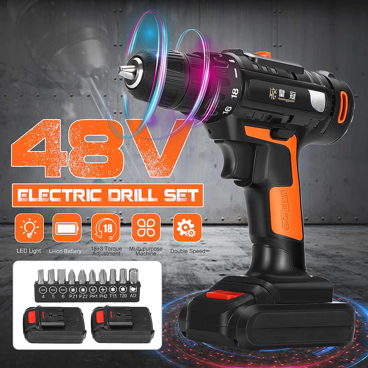 48V Electric Drill Cordless Rechargeable Driver Drill Screw Set Repair Tools Kit 2-speed 18+1 Torque Setting High Efficiency